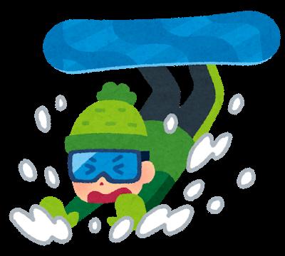 スノーボードで転ぶ